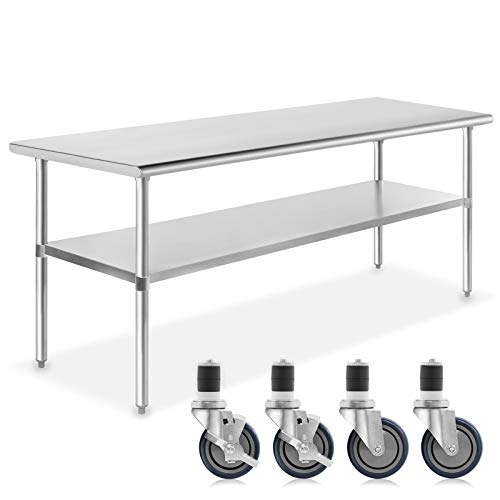 GRIDMANN NSF Stainless Steel Commercial Kitchen Prep & Work Table w/ 4 Casters (Wheels) - 72 in. x 30 in.