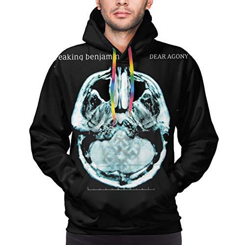JuanTAllman Dear Agony Mens Hoodie Personality 3D Printed Pullover Sweatshirt with Pockets Long Sleeve tee Large Black
