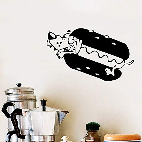 Adesivo da parete in vinile modello hot dog carino adesivo da cucina tatuaggio fast food ristorante logo rimovibile poster carta da parati adesivo per bambini69x42 cm