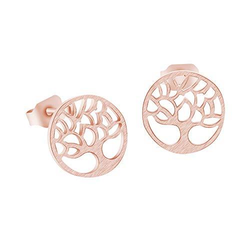 Pendientes de árbol de la vida para mujer Moda Brincos Pendientes de botón de planta de acero inoxidable Color dorado Simple Boucle D oreille-Rose_Gold_Color_China