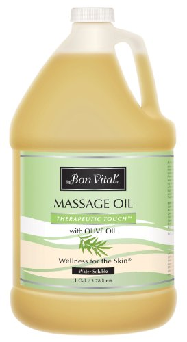 Bon Vital' Therapeutic Touch Massage Oil Made with Olive Oil to Repair Dry Skin & Soothe Sore Muscles, Lightweight Oil Perfect for Any Massage to Hydrate and Nourish Dry, Rough Skin, 1 Gallon Bottle
