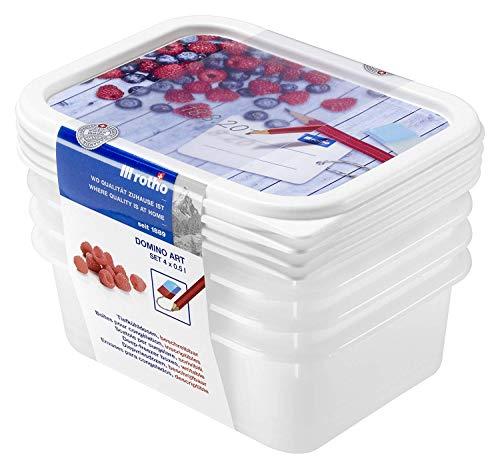 Rotho Domino 4er Set Gefrierdosen 0,5l mit beschreibbarem Motiv auf dem Deckel, Kunststoff (PP) BPA-frei, weiss, 4 x 0,5l (15,7 x 11,8 x 10,5 cm)