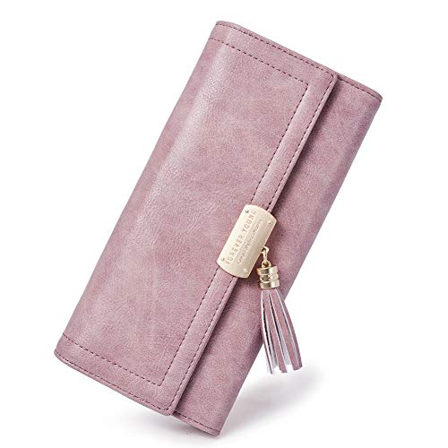 CLUCIGeldbörse Damen Elegant à–lwachs Leder Lang Geldbeutel Frauen Portemonnaie mit Viele Kartenfächer, 16- à–lwachs Taro Pink, Large