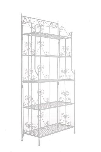 Ciara stabiles Standregal im Landhausstil I Klappbares Eisenregal mit 5 Regalböden I erhältlich, Farbe:weiß