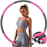 Weighted Exercise Fitness Hoop for Adults 3-5lb,Weighted Hoop for Exercise,Weight Loss Hoop for Adults,Sports Workout Hoop for Kids and Women,8 Detachable Section Fitness Hoop(Stainless Steel Pink)