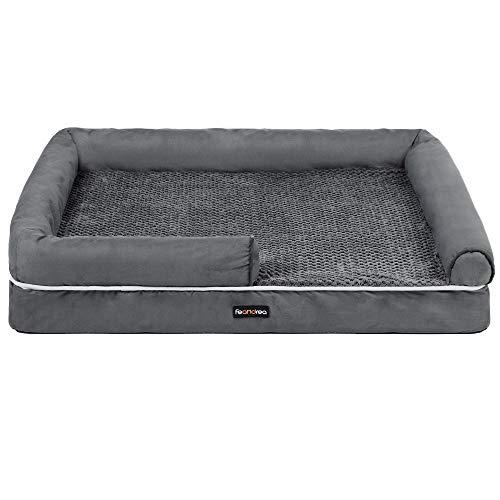 FEANDREA Dog Bed, Orthopedic Dog Sofa, Memory Foam Dog Mat, Removable Cover, Waterproof, Machine Washable, Anti-Slip, Raised Edges, 36 x 28 x 7.9 Inches, Dark Gray UPGW067G01