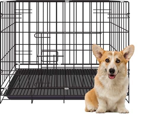 Ducomi Jaula para Perros Petlust para Interiores,Exteriores,Caja de Metal Plegable Grande para Gatos y Cachorros, Jaulas de Transporte en Coche con Bandeja y Lavable (Negro, 60x42x50 cm)