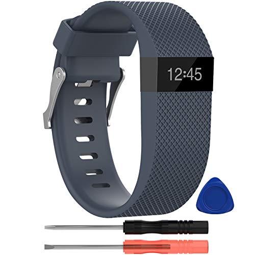 Correa para Fit bit Charge HR,KingAcc Silicona Suave Pulsera de Respueto con Hebilla de Metal Compatible con Fit bit Charge HR Smartwatch