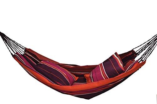 Hamac Enfant - Toile de Coton Tissée - Double Corde Tressée - 80 kg Maxi - Marsala (Violet) - sans Coussins