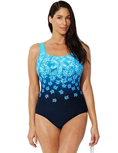 SWIMSUITSFORALL Swimsuits for All Women's Plus Size Chlorine Resistant Tank One Piece Swimsuit 18 New Turq
