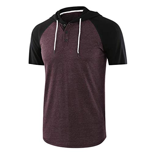 Kiasebu mannen casual korte mouw Raglan Henley Jersey hoodie honkbal T-shirts patchwork tekening t-shirts voor mannen