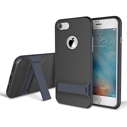 iPhone 7 Case, ROCK MOOST [Royce Series] Dual Layer Shockproof Thin & Slim Case With Kickstand for iPhone 7 (4.7inch) [Black / Navy Blue]