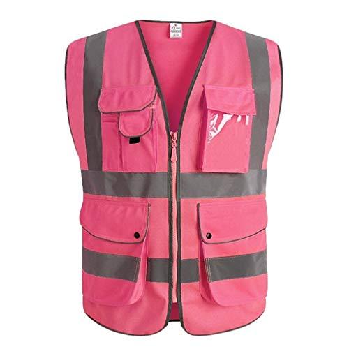 Mr.T Constructie Verkeer Fluorescerende Vest, 100% Polyester Comfortabele Ademende Lichtgevende Pak Waarschuwing Pak Lake Blauw