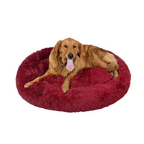 Hundebett Plüsch Rund Hundekissen Premium Orthopädisches Haustierbett für große und extra große Hunde waschbar Donut Hundekörbchen(Claret,Ø 70CM)