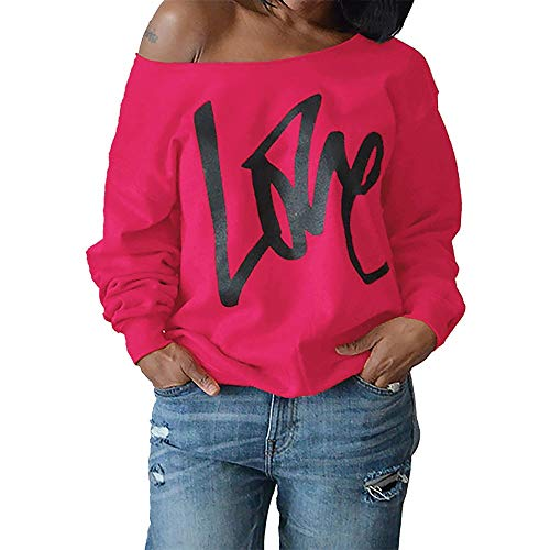 Ulanda Women's Sexy Off Shoulder Oversized Pullovers Sweatshirts Love Print Slouchy Tops Plus Size Hot Pink