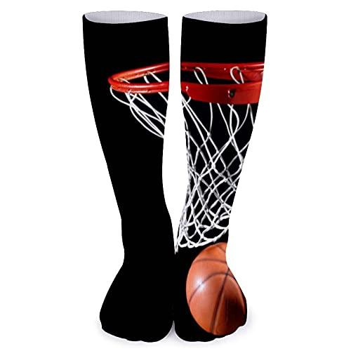 Calcetines de baloncesto y aro para mujer, cómodos, hasta la rodilla, de 15.7 pulgadas, para hombre, de compresión casual, calcetines deportivos largos para vuelo, correr, diario, fútbol, fiesta