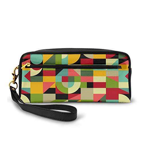 Bauhaus Stil inspiriert Mosaik kleine Make-up Tasche Geldbörse PU Leder Reise Kosmetiktasche einfache Bleistiftbeutel