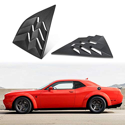 ROUTEKING Side Window Louvers Challenger Air Vent Scoop Windshield Sunshade Cover Blinds in GT Lambo Racing Style ABS, Fit for Dodge Challenger 2008-2020 (Matte Black)