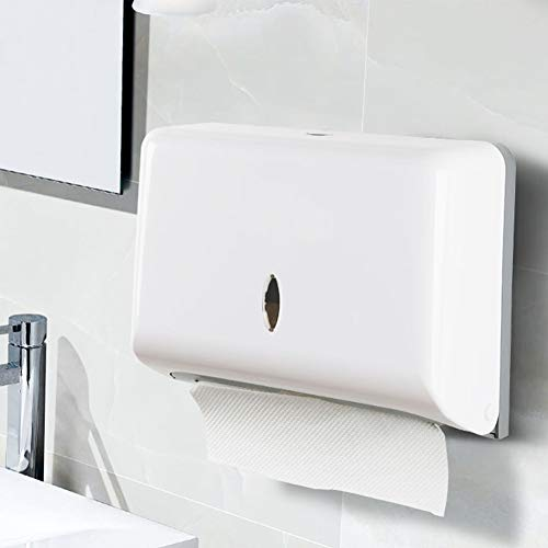 Paper Towel Dispensers, Wall Mount Commercial Toilet Tissue Dispensers Paper Towel Holder C-Fold/Multifold Paper Towel Dispenser for Bathroom, Kitchen(White)