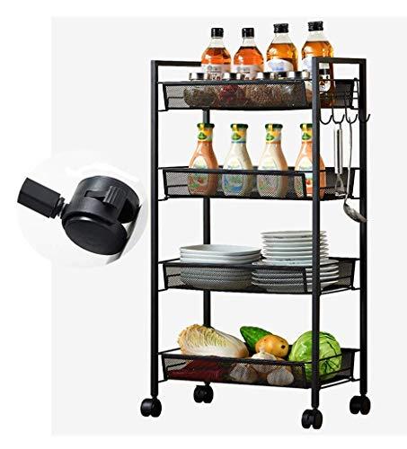 YZjk Xlonghome küchenwagen Rack gemüse und Obst Spielzeug Topf lagerung Regal DREI Reifen schwarz 45x26x84,5 cm