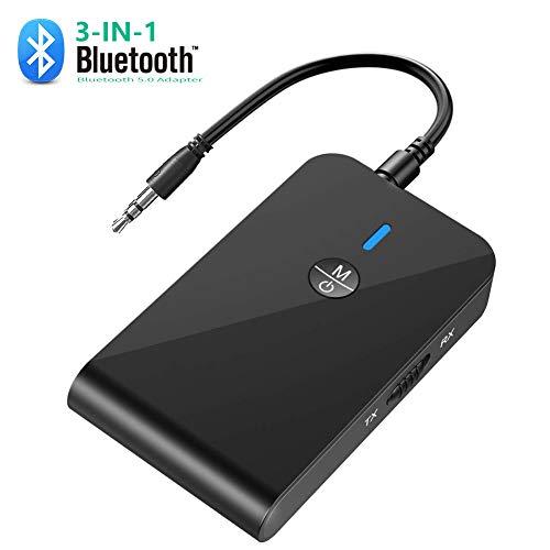 Bluetooth Adapter Transmitter,3in1 Bluetooth 5.0 Empfäner Sender Aux Bluetooth Adapter mit 3.5mm Jack und USB für PC/Fernseher/Lautsprecher/Radio/Auto/TV/PC/Tablet/MP3/MP4/Kopfhörer/Audi/Stereoanlage