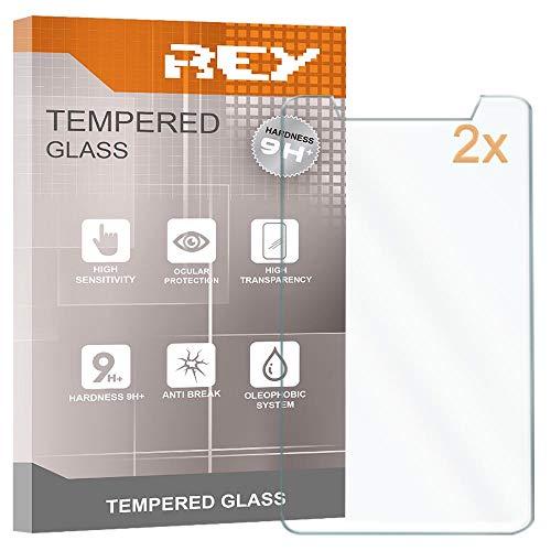 REY 2X Protector de Pantalla para Universal 8', Medida 12 x 20,5cm, Cristal Vidrio Templado Premium, Táblet,