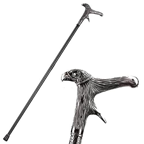 QHWJ Caña de Caminata Vintage, Metal gótico Cabeza de águila Elegante Caballero Decorativo bastón de Bastones de Cosplay, 92 cm