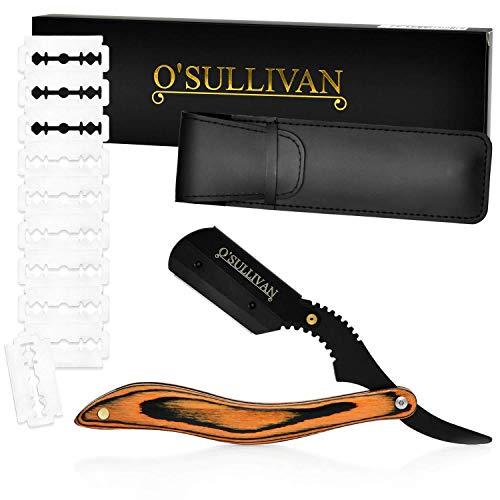 O'Sullivan Rasiermesser-Set mit Holzgriff, Lederetui und [10 Rasierklingen] - Für die beste Rasur