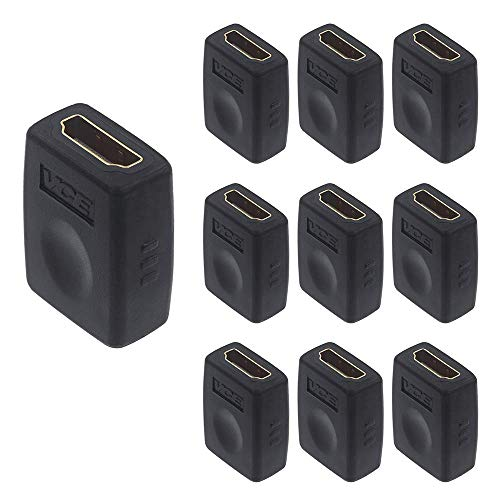 VCE 10 Pack HDMI Coupler HDMI Female to Female Adapter Connector Support 3D 4K 1080P HDMI Cable Extender Compatible with Roku TV Stick Chromecast, Switch, Xbox One, PS4 PS3, PC and More
