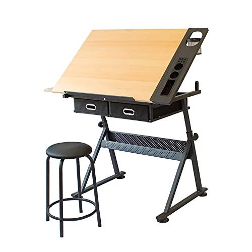 ZDAMN Mesa de pintura para niños y adultos, mesa de dibujo con caligrafía y pintura, doble estante para dibujo (color: natural, tamaño: 96 x 60 x 68 cm)