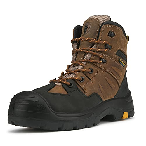ROCKROOSTER Woodland Work Boots for Men, 6 inch Composite Toe Lace up Leather Boots, Metal-Free, Ankle Support, Waterproof, Electric Hazard, Non-Slip(AK669, Size 9.5)