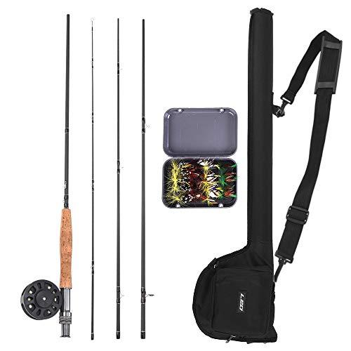 Lixada Combo de Caña y Carrete de Pesca con Mosca con Bolsa 20 Moscas Kit de Pesca con...
