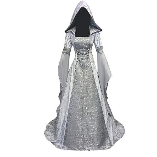 VEMOW Karneval Cosplay Party Ballkleid Damen Mode Langarm Mit Kapuze Mittelalterliches Kleid Bodenlangen Cosplay Kleid(Weiß, 44 DE / 4XL CN)
