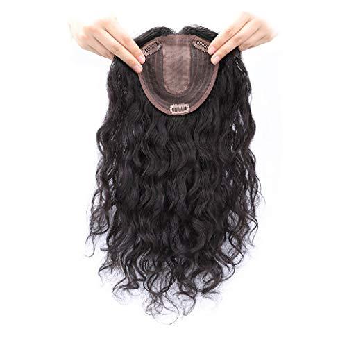 Echthaar-Topper, Haarteil mit Pony, für dünner werdendes Haar, gelockt, für den rechten Teil, 30 cm, natürliches Schwarz