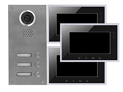 2 Draht 3-Familienhaus Video Türsprechanlage Gegensprechanlage mit 3x 7 '' Monitor schwarz