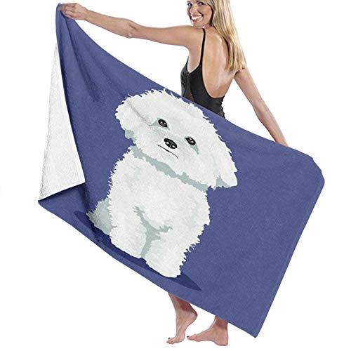 Toallas de baño,Perro Bichon Frise Blanco a un Color,Manta Suave de Las...