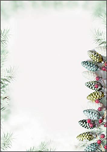 Sigel DP177 Briefpapier Weihnachten A4 mit moderner Weihnachtsgirlande, 90g, 100 Blatt
