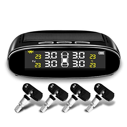 Medidor presion neumaticos Coche del monitor de la presión de los neumáticos de TPMS de energía solar inalámbrica con 4 sensores, carga solar y USB, luz de retroiluminación automática y sueño y despie