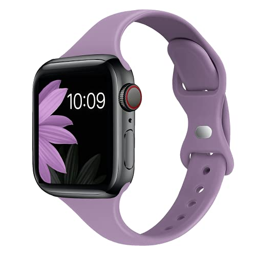 STG Sport Band Compatible with Apple Watch 38mm 40mm 42mm 44mm, Soft Silicone Slim Thin Narrow Replacement Strap Compatible for iWatch SE Series 6/5/4/3/2/1 (Lavender Purple, 38/40mm)
