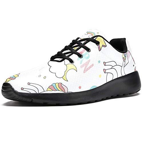 Zapatillas deportivas para correr para mujer, lindos unicornios con elementos mágicos, zapatillas de deporte de malla, transpirables, para caminar, senderismo, tenis, color, talla 39 EU