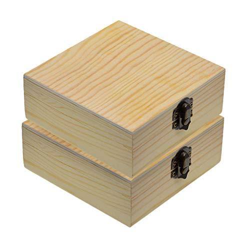 F Fityle Caja de Regalo de Joyería de Madera Cuadrada Sin Terminar Natural de 2 Piezas, Organizador de Caja de Almacenamiento para Manualidades de Pintura DIY