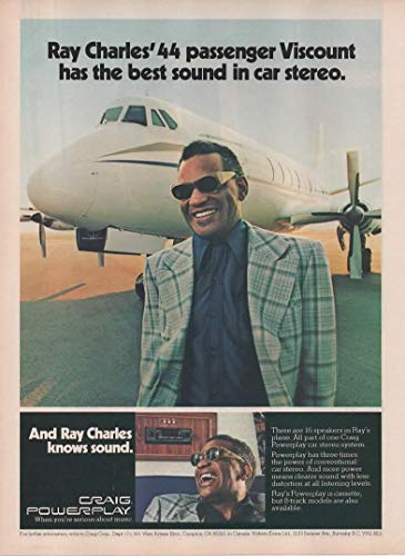 """Magazine Print Ad: Craig Powerplay Car Stereo System,""""Ray Charles' 44 Passenger Viscount has the best sound in car stereo"""""""