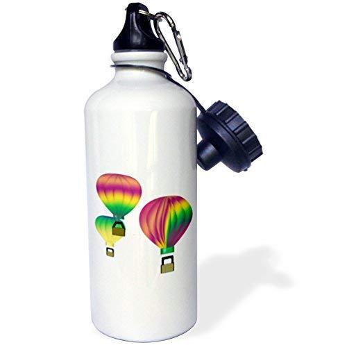 ANGELA G Grafisch Ontwerp Kleurrijke Hot Air Ballonnen met transparante achtergrond Sport Waterfles, 21 oz, Wit RVS Waterfles