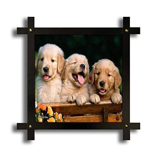 Poster N Frames Cross Wooden Frame Hand-Crafted with Photo of Dog Size (16.5x16.5inch,Wood,Multicolour)