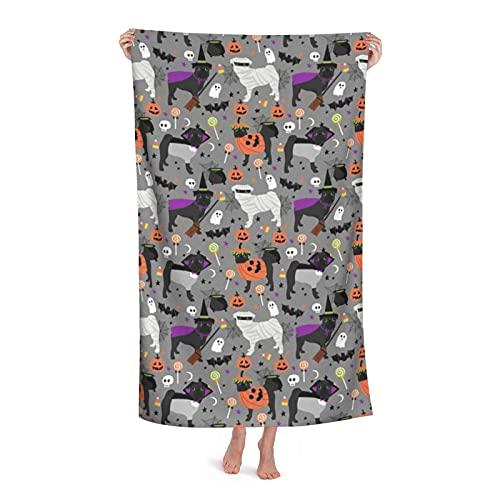DLJIYZX Toalla de Playa Pug Negro Disfraz de Halloween Perros Lindos en Disfraces Gris Claro Manta de Microfibra Altamente Absorbente Toallas de baño Suaves 80X130CM