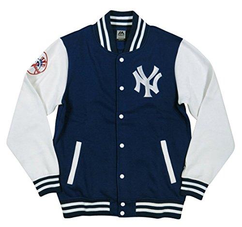 (マジェスティック)MAJESTIC ニューヨーク ヤンキース ロゴ刺繍 裏起毛 スウェット スタジャン XL NAVY(ネイビー)