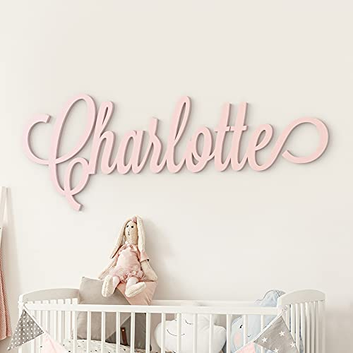 Custom Personalized Wooden Name Sign 12-55' WIDE - CHARLOTTE Font Letters Baby Name Plaque PAINTED nursery name nursery decor wooden wall art, above a crib