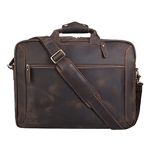Vints Leder Cabrio Rucksack 15,6 Zoll Laptop Aktentasche Umhängetasche Travel Daypack für Männer Messenger Handtasche Laptop Aktentasche (Geschäftsart braun)