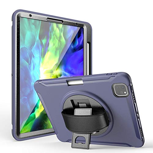 Jacquelyn Shockproof Case for iPad Pro 11 2020/2018 with Pencil Holder, Built-in Screen Protector Full Body Rugged Kickstand Protective Case for iPad Pro 11 inch 1st/2nd Generation (Color : Blue)