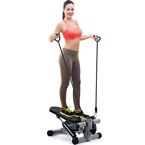 OMMO Mini Steppers for Exercise, Adjustable Stepper Machine with Resistance Bands and LCD Display, Portable Climber Stair Stepping Fitness Machine